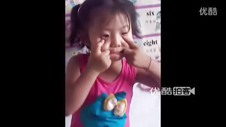 【拍客】超级萌女扮大灰狼滑稽表情吓人