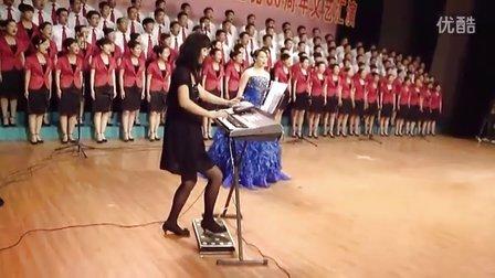 手风琴法奏三排键双排键电子琴脚踏电子鼓 演奏 山丹丹开花红艳艳