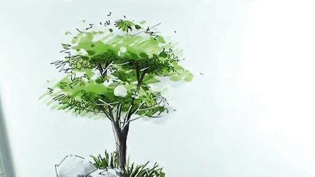 园林景观手绘示范-树与石头-广州疯狂手绘培训视频教程
