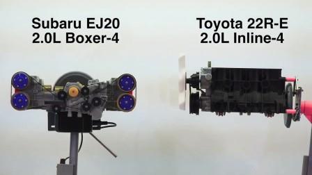 3D打印引擎模型,斯巴鲁EJ20对比丰田22R-E,水平对卧四缸和直列四缸差别