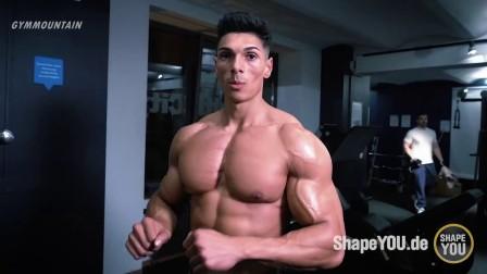 健身新星Andrei Deiu傲人胸肌撕裂腹肌训练 健身意志氮泵