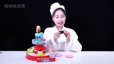 樱桃玩具秀: 面包超人超大回转寿司店玩具拆箱视频