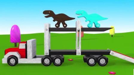 汽车总动员:托马斯火车运输各种恐龙,大卡车也运输各种颜色的恐龙