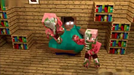 我的世界动画-胖Herobrine和胖恐怖婆婆-MrFudgeMonkeyz