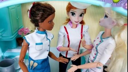芭比娃娃的美食店玩具拆装系列