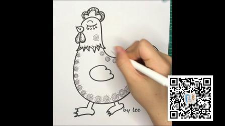 线描画可爱的小鸡