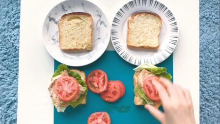 【法棍丸子美食VLOG】-双人元气早餐的制作过程(三明治)