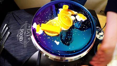 液氮奶油马斯卡布尼冰激凌配甜橙蛋糕