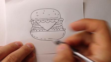 手绘简笔画大全.汉堡包的画法