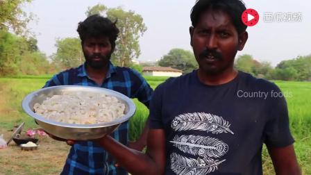 印度村民野炊, 西红柿洋葱炒虾仁, 做一锅虾仁焖米饭, 用手抓着吃