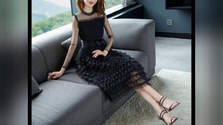2018夏季新款蕾丝蛋糕连衣裙黑色透视高腰网纱中长款女装