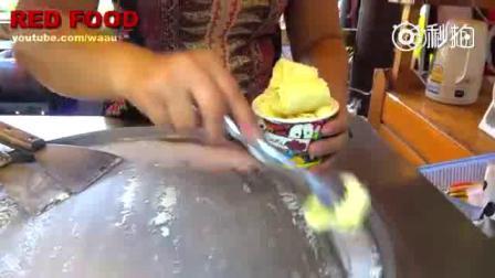 泰国街头的炒榴莲冰淇淋卷, 爱榴莲的看过来吧~