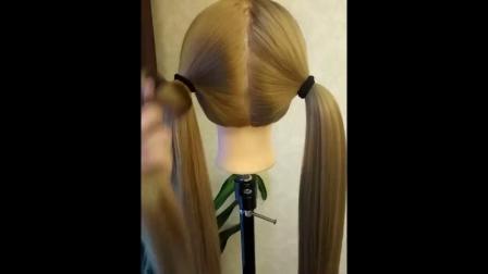 瀑布马尾辫辫子图解编发教程儿童编发短发学生头发型马尾辫
