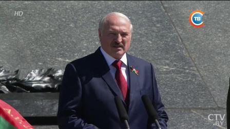 白俄罗斯纪念卫国战争胜利73周年向胜利纪念碑献花仪式(2018年5月9日)