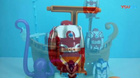 41 奥特曼玩具视频 海盗船寻宝迪迦戴拿赛罗变形奥特蛋变身对战大蝎子