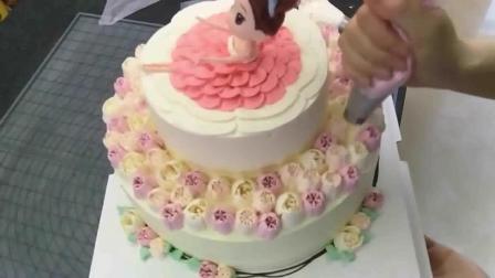 蛋糕裱花 生日蛋糕简单裱花 韩式裱花用什么豆沙