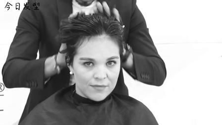 刘海一边斜短发剪裁技术、理发师值得学习