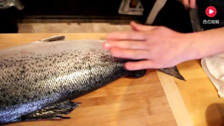日本大厨一条顶级三文鱼 刀工精湛 看过程也是享受