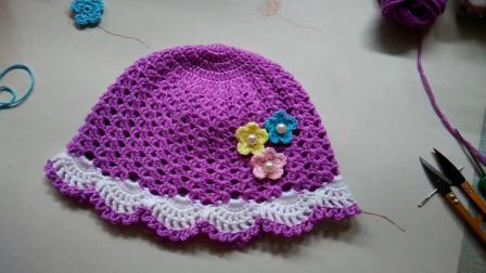 淘宝店铺:手飞扬毛线编织店。花儿朵朵帽子配饰的钩法。