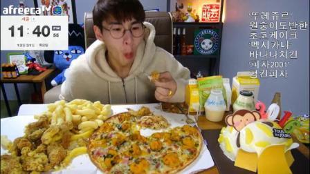 【韩国吃播】【吃播剪说话】正常速度+2倍速 大胃王奔驰小哥吃披萨+炸鸡+蛋糕+馄
