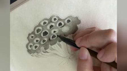 跟乐知轩主(耿老师)学工笔画——疏荷沙鸟图(2)