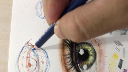 彩铅眼睛的细节要点之眼皮上的体积