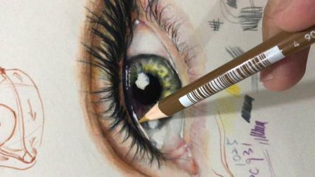 彩铅眼睛的细节要点之眼角部位的形体