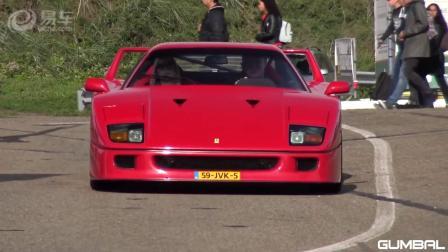 经典的法拉利F40在赛道上赛车! 经典的排气声浪