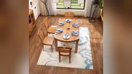 1_实木餐桌椅组合中式可伸缩折叠长方圆形家用餐桌现代餐厅家具饭桌_A