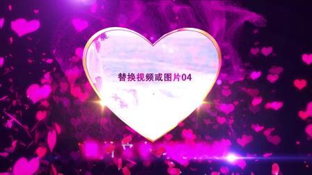 浪漫玫瑰爱心婚礼相册AE包装特效转场制作图片文字展示视频LED播