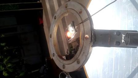 碟式聚光镜烧熔钽片视频