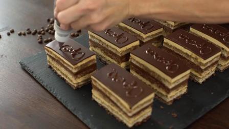 歌剧蛋糕 - 丰富的法国甜点,使用最受欢迎的风味组合之一