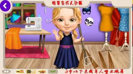 可爱的小女孩万圣节的乐趣鬼魅化妆和化妆派对玩有趣的万圣节游戏的孩子