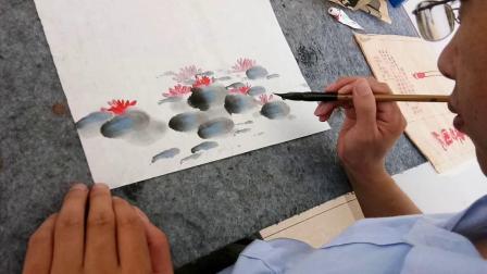 怎样画荷花柳树花鸟画水墨画中国画,【原创教育】孙计安听雨画室