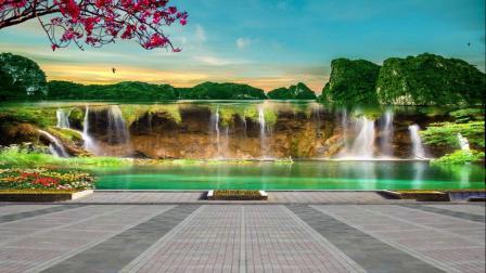 梦依蓝背景素材(378)小河趟水