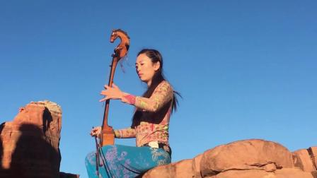 塞多娜红岩导游-日本阿姐在山顶拉马头琴