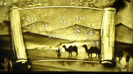 古代丝绸之路沙画,王娟作品