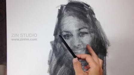 女青年碳棒素描头像示范