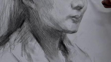 杭州厚一学堂美术教学视频第1讲-素描名师-凡佳素描头像教学示范
