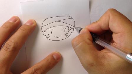 金龙手绘.简笔画少数民族小男孩