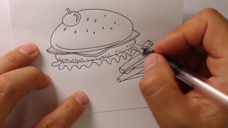 金龙手绘.简笔画汉堡包的画法讲解