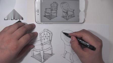 罗丹美术手绘——室内设计古典椅子画法