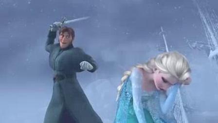 我在生死一线 安娜为艾莎挡剑化冰雕截了一段小视频