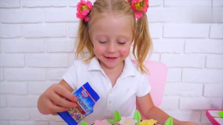 宝宝做生日蛋糕,插上好多小星星,好吃又好看