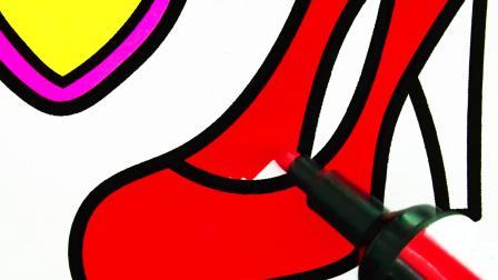 冰淇淋冰糕蛋糕简笔画涂色游戏  认识颜色水果  育儿简笔画英语启蒙
