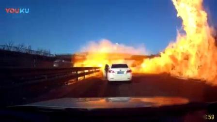 我在京哈高速油罐车发生起火, 这场面堪比大片啊!截了一段小视频