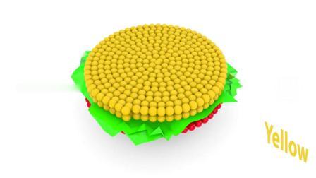 亲子动画 3D彩球围成汉堡包的形状学习颜色