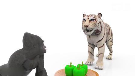 亲子动画 3D大猩猩大象老虎马儿饿了找妈妈要食物吃