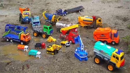 洗汽车和汽车玩具挖掘机和卡车儿童歌曲