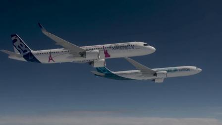 官方,空客(Airbus)A321LR与A330neo编队飞行视频